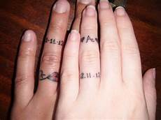 picture of wedding date tattoos done in different places