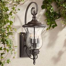 franklin iron works traditional outdoor wall light fixture led bronze 22 quot clear seedy glass for