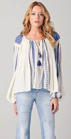 mes demoiselles nastasia embroidered blouse in blue lyst