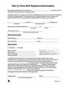 free one 1 time ach payment authorization form word