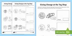 money worksheets change from 50p 2103 ks1 maths giving change at the shop worksheet activity
