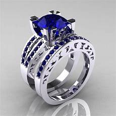 blue sapphire wedding ring modern vintage 14k white gold 3 0 carat blue sapphire solitaire and wedding ring r102s 14kwgbs