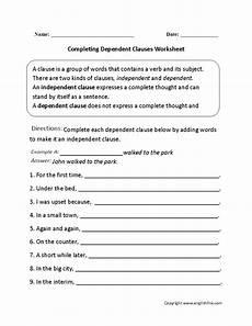 completing dependent clauses worksheet englishlinx com