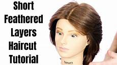 short feathered layers haircut tutorial thesalonguy youtube