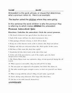 antecedent worksheet or quiz with answer key by higg tpt