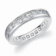 diamond eternity band wedding ring princess square cut 14k white gold 2 00 carat ebay