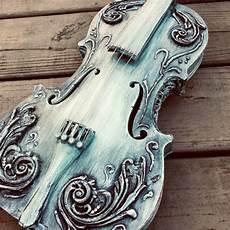 violin decor shabby chic distressed embellished violin