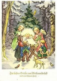 ak weihnachten engel und kinder beim jesuskind 1957