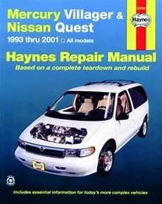 old car owners manuals 1993 nissan quest regenerative braking haynes repair manual for mercury villager nissan quest 1993 thru 2001