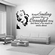 wall sticker decal quotes marilyn smiling quote wall stickers room