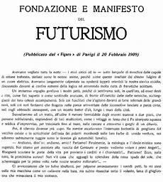 manifesto futurismo testo la nascita futurismo 1909
