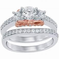 disney enchanted 14k white and rose gold 1 1 5 ctw diamond snow white bridal bridal sets