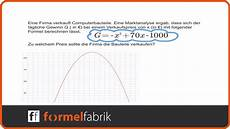 maximaler gewinn berechnen scheitelpunktform maximaler gewinn textaufgabe