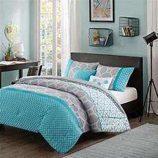 modern contemporary blue teal aqua grey chevron comforter