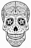 Detailed Sugar Skull Coloring Page  Abstract