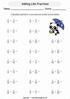 fraction worksheets grade 3 free 3946 add 2 like fractions and answer in the lowest possible terms grade 3 math fraction worksheet