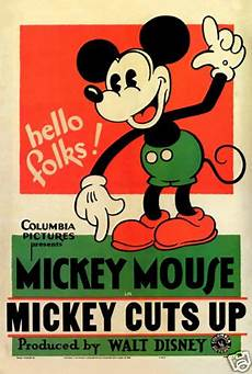 mickey cuts up 1931 disney cult cartoon movie poster print ebay