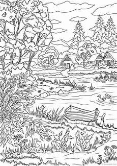 nature coloring pages free 16341 lake view printable coloring page from favoreads etsy