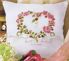 rose heart ring bearer s pillow cross stitch kit by vervaco