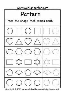 math worksheets on patterns for kindergarten 339 patterns trace the shape that comes next 2 worksheets worksheets with images pattern