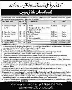 armed forces institute of nutrition lahore ots 2019 application form roll no answer key