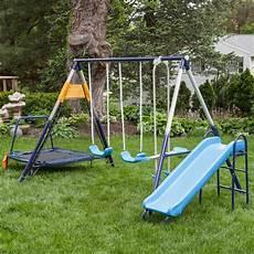 metal swing sets ascend a frame metal swing set with troline swing