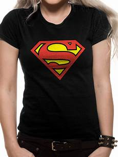 superman logo on black t shirt fitted schwarz