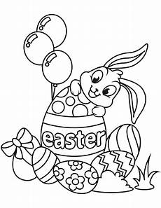 easter bunny and eggs coloring page free printable