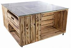 ᐅ tisch aus obstkisten mit schublade glasplatte 81x81x44cm