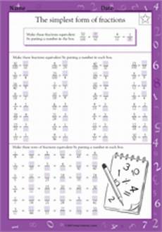 the simplest form of fractions math practice worksheet