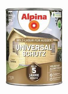 holz lasur alpina holzlasur universal schutz farblos 2 5 l