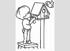 Kinderen kleurplaten vogelhuisje