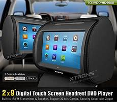 black 2x car headrest dvd player 9 quot hd touch screen
