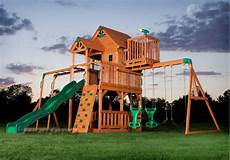 swing club outdoor wooden swing set playhouse playset with slide