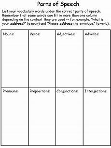 worksheets speech 19060 cycle 2 week 1 parts of speech printable template parts of speech parts of speech