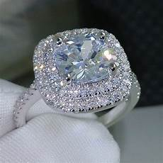 diamond rings wedding choucong cushion cut 8mm aaaaa zircon cz 925 sterling
