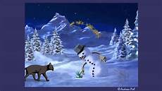animierte weihnachts e card katze baut schneemann