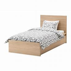 malm bed frame high w 2 storage boxes white stained