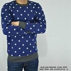 jual sweater switer kaos panjang motif bintang biru cowok pria di lapak justforfun dikawar