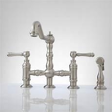 kitchen bridge faucets deck mount bridge faucet with side spray lever handles kitchen