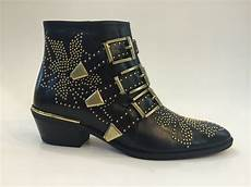 susanna boots in black leather gold studs ebay