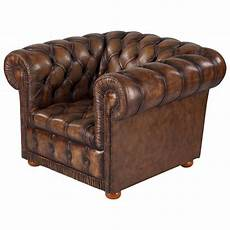 vintage chesterfield armchair in brown leather