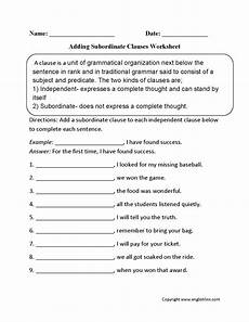 adding subordinate clauses worksheet englishlinx com