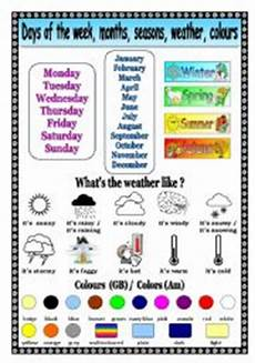 worksheets seasons and days of the week 14784 days of the week months seasons weather colors esl worksheet by mags24