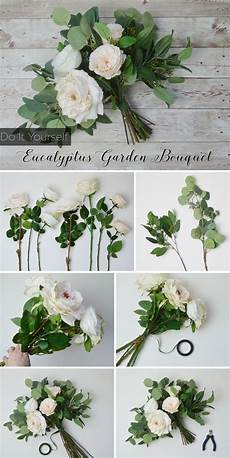 cream white eucalyptus bouquet silk flowers bridal