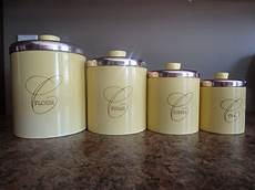 vintage kitchen canisters sets metal canister set yellow canister set vintage canisters