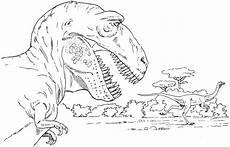t rex jagt einen saurier ausmalbild malvorlage tiere
