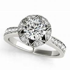 diamond star engagement ring with accents 14k white gold 1 40ct ng334