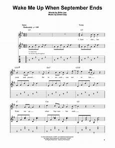 wake me up when september ends sheet music green day easy guitar tab