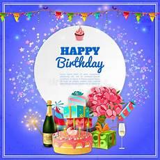 happy birthday invitation card template happy birthday background poster stock vector